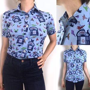 Vintage 1970s • Birdcage Print Stretch Collar Top